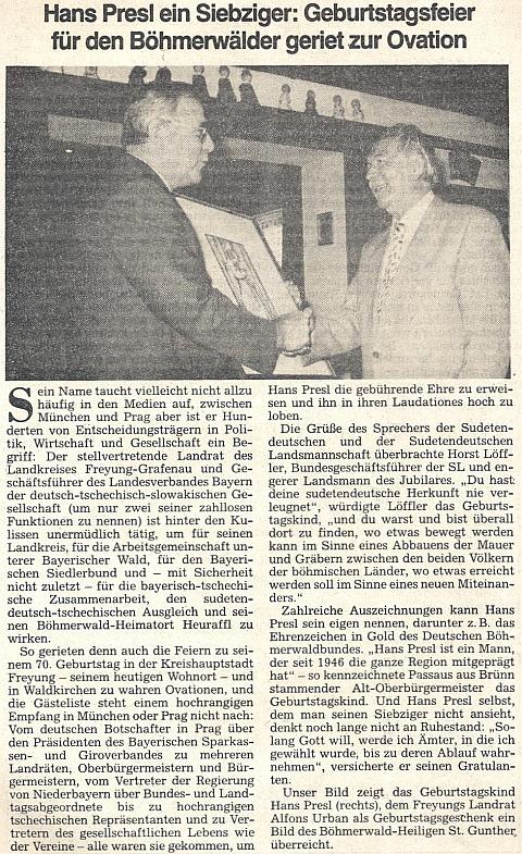 Článek k jeho životnímu jubileu v ústředním tiskovém orgánu krajanského sdružení