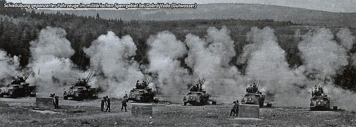 Střelby ve vojenském újezdě Dobrá Voda u Hartmanic někdy v období komunistické totality