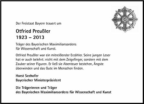 Smuteční oznámení Svobodného státu Bavorsko vydané bavorským premiérem Seehoferem a nositeli Maximilianova řádu pro vědu a umění