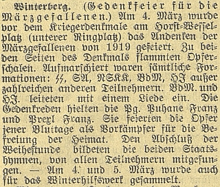 """Zpráva českobudějovického německého listu zmiňuje jeho proslov na vimperském uctění """"březnových padlých"""", připomínající kadaňské události roku 1919, pojatém samozřejmě v nacionálně socialistickém duchu"""