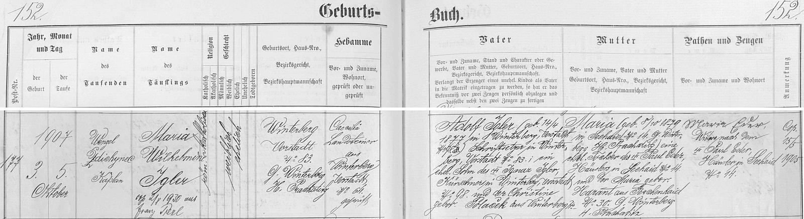 Záznam vimperské křestní matriky o narození jeho ženy