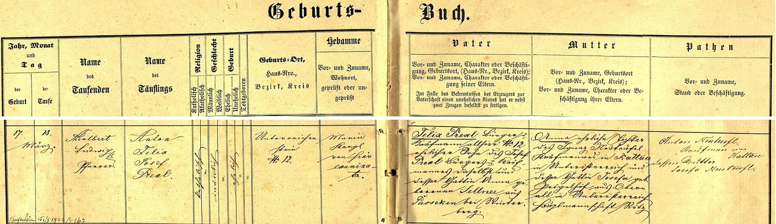 Záznam o narození otce v rejštejnské křestní matrice