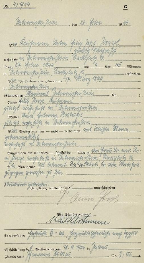 Záznam rejštejnské stavovské matriky o úmrtí otcově 27. února 1944 ještě doma na Šumavě - snad stojí za povšimnutí, že záznam podepsal Karl Klostermann, jehož syn a jmenovec má na webových stranách Kohoutího kříže i své samostatné zastoupení