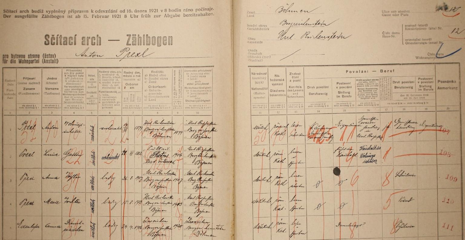 Arch sčítání lidu z roku 1921 pro dům čp. 12 v Rejštejně i s ní