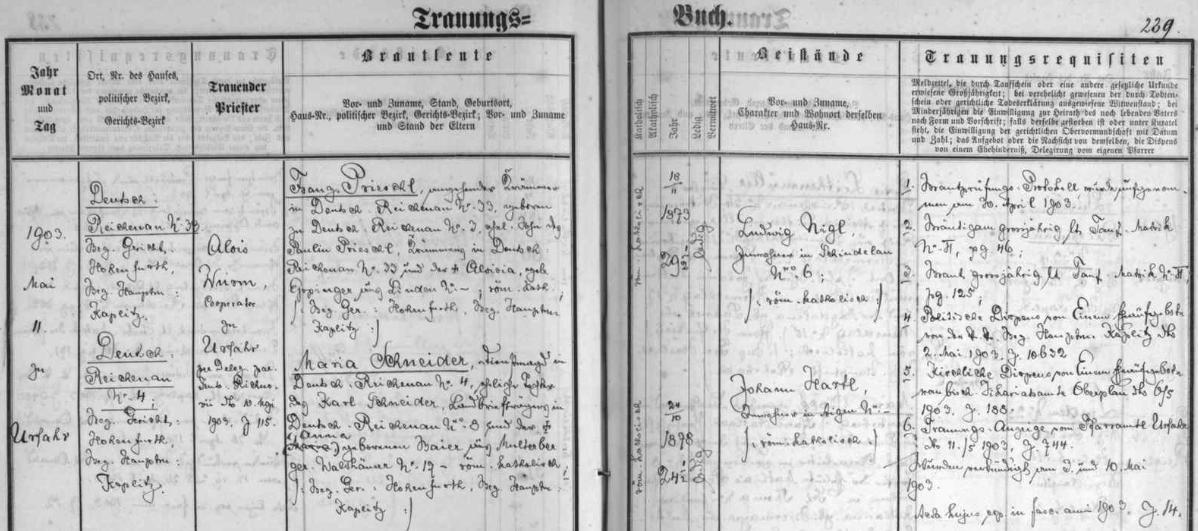 Záznam o svatbě jeho rodičů v oddací matrice farní obce Rychnůvek