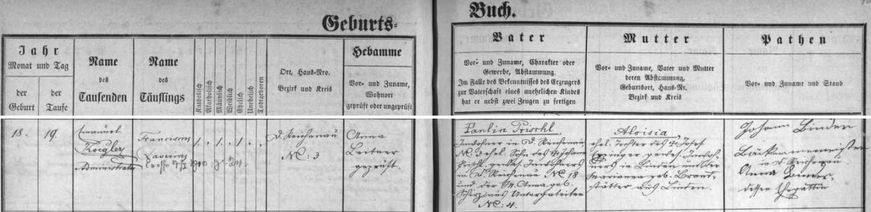 Záznam o narození otcově na stránkách rychnůvecké křestní matriky