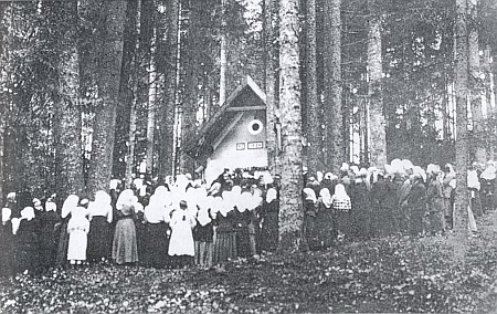 Vysvěcení poutní kaple v Urešském lese roku 1924 (viz i Josef Bayer a Friedberta Hoferová)
