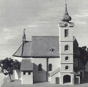 Model kostela sv. Václava v Rychnůvku, srovnaného se zemí 9. června 1959