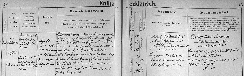 """... a záznam o ní v matrice """"u sv. Mikuláše"""", oddávajícím knězem byl Alois Simeth"""