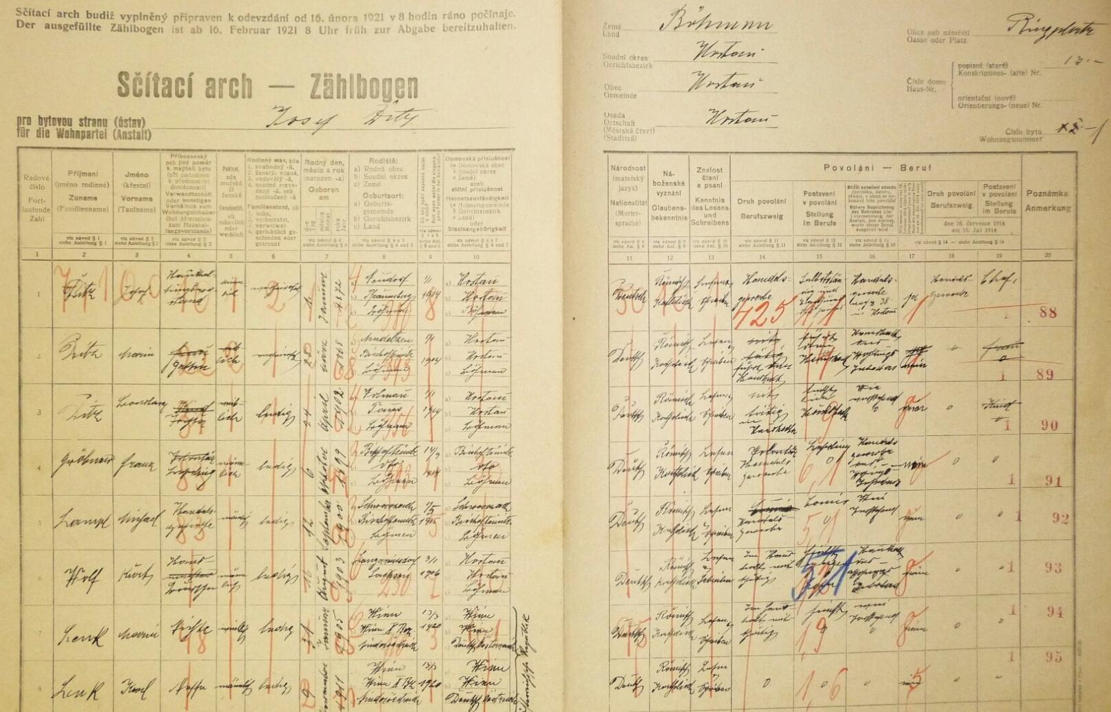 Arch sčítání lidu z roku 1921 pro dům čp. 13 v Hostouni s rodinou Josefa a Marie Ditzových, a to i s dcerou Barbarou, která tu má ovšem datum narození 24. dubna 1902, tedy jiné než na záznamu českobudějovické oddací matriky