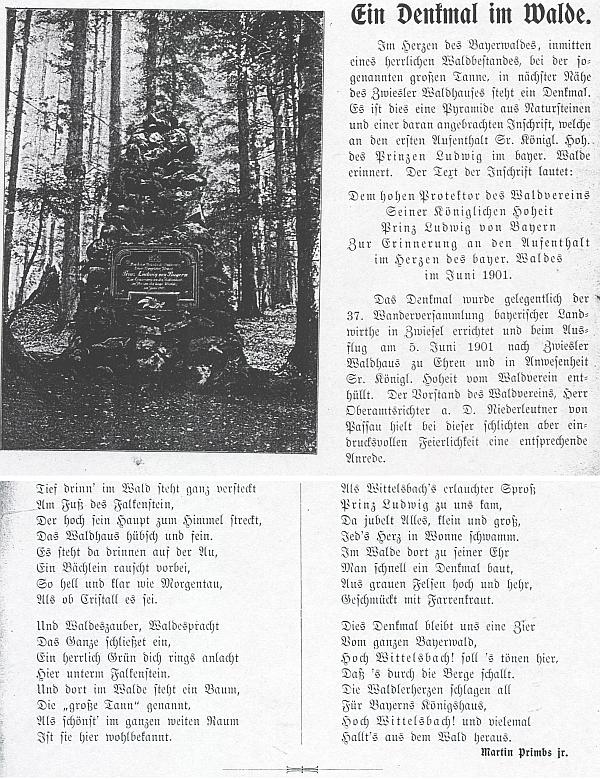 Jeho příspěvek do prvního čísla časopisu Der Bayerwald o zapomenutém památníku v lese blízko osady Zwiesler Waldhaus na počest pobytu prinze Ludvíka Bavorského