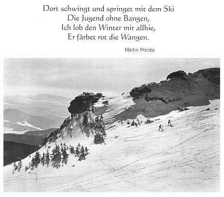 """Poslední sloku jeho básně o lyžařích doprovází v knize, kde byla otištěna, snímek z temene Javoru se skálou zvanou """"Hlava Richarda Wagnera"""""""