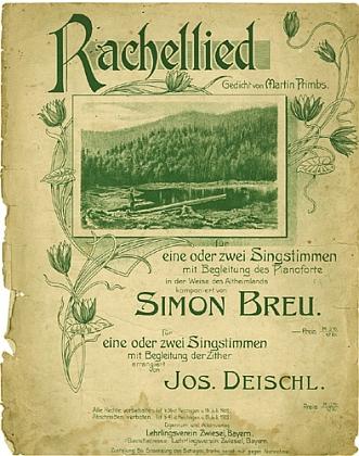 Obálku notového dvojlistu s písní o hoře Roklan na text jeho básně
