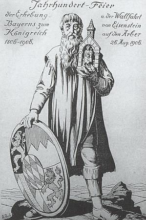 Slavnostní pohlednice Antona Pecha k jubilejní pouti na Javor upříležitosti stoletého povýšení Bavorska na lrálovství 1806-1906