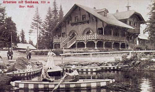 Velké Javorské jezero na staré pohlednici