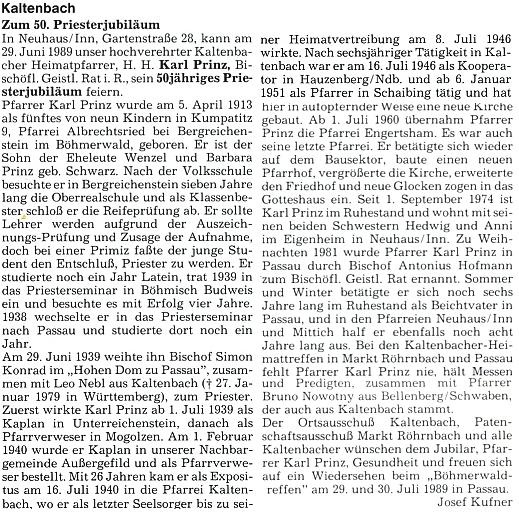 Článek Josefa Kufnera k 50. jubileu Prinzova kněžství na stránkách krajanského měsíčníku
