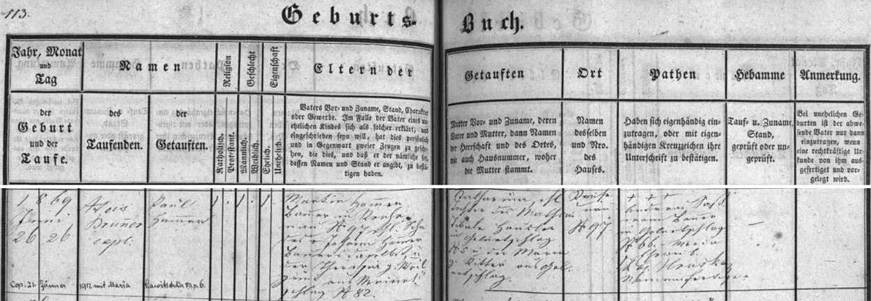 Záznam o narození matčina otce Paula Hammera v křestní matrice farní obce Rychnov u Nových Hradů, kde přišel na svět 26. června 1869 ve stavení čp. 97, s pozdějším přípisem o jeho zdejší svatbě 21. ledna roku 1912 sMarií, roz. Lawitschkovou