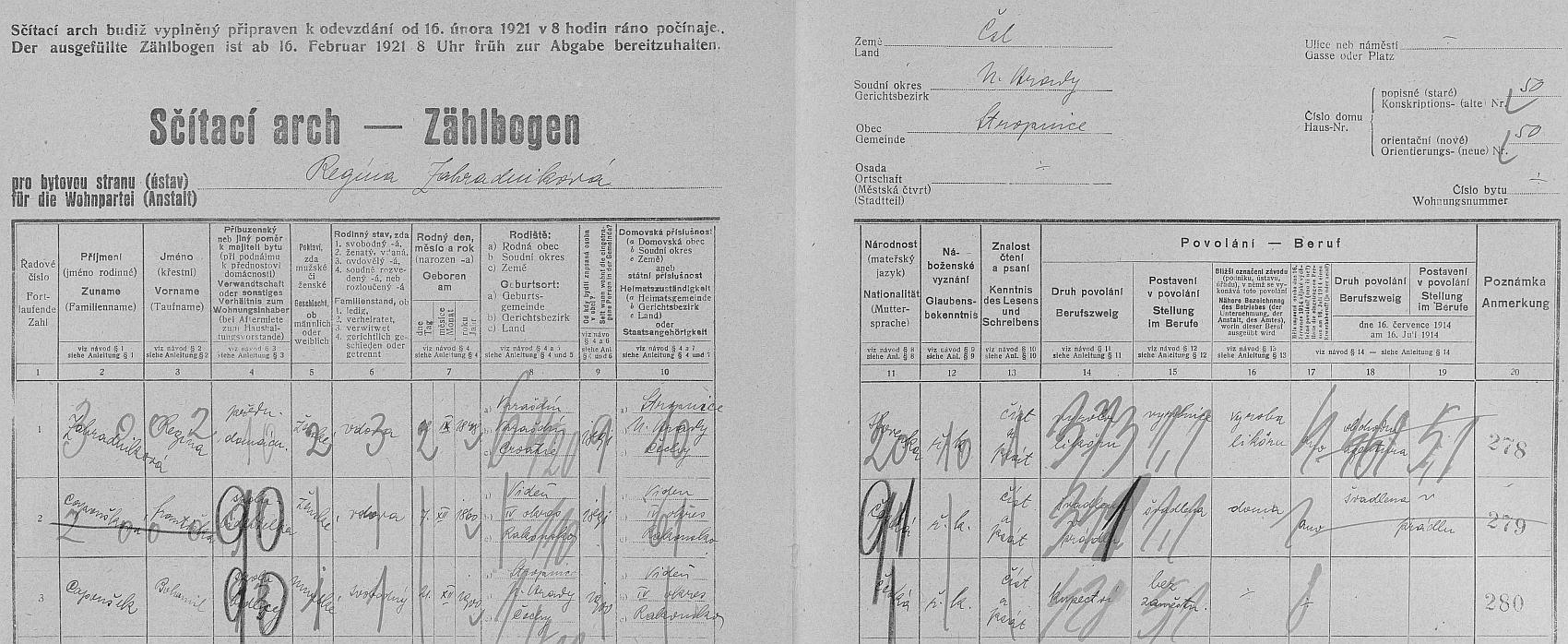 """Arch sčítání lidu z roku 1921 pro dům čp. 50 v Horní Stropnici, kde tehdy žila už ovdovělá Stephaniina matka s """"tetou Fanny"""" a jejím synem Gottfriedem (zde psán Bohumil)"""