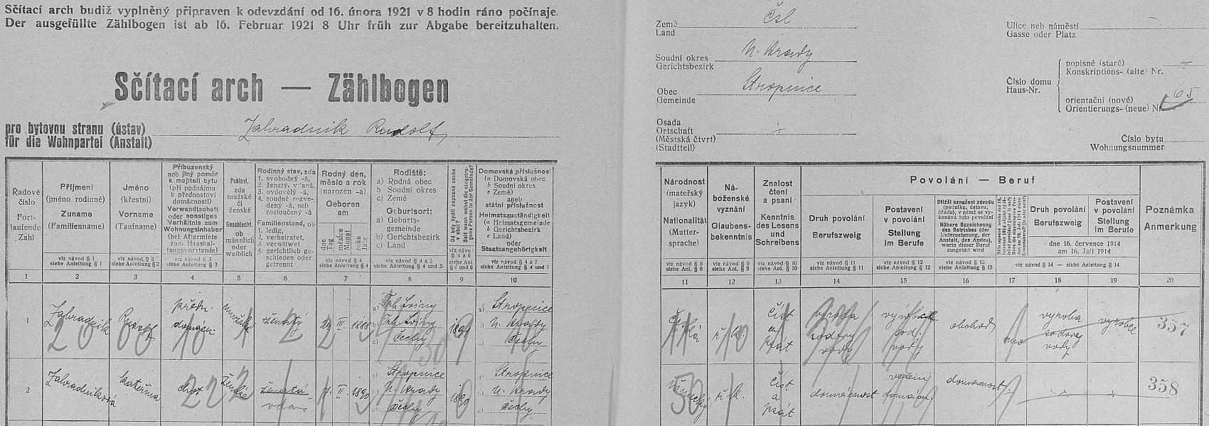 Arch sčítání lidu pro dům čp. 65 v Horní Stropnici s jejím bratrem Rudolfem a  jeho ženou Kateřinou, prohlašující se na rozdíl od něho, Čecha z Trhových Svinů, za Němku z Horní Stropnice
