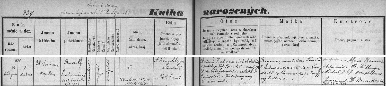 Český záznam trhovosvinenské křestní matriky o narození jejího bratra Rudolfa