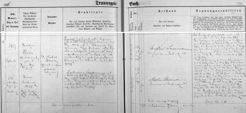Německý záznam hornostropnické oddací matriky o první svatbě bratra Rudolfa, který je zde uveden jako toho času četař jednoho vídeňského c.k. regimentu
