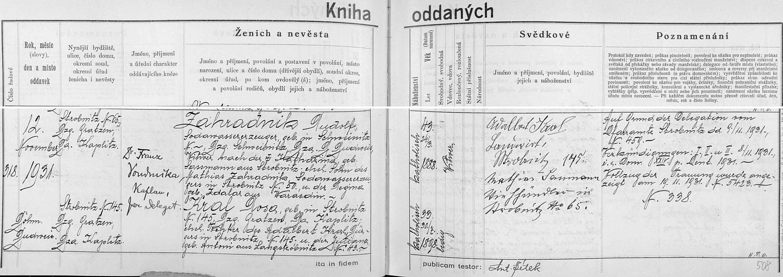 Německý záznam českobudějovické oddací matriky o zdejší druhé svatbě bratrově, který už zde vystupuje jako hornostropnický Němec