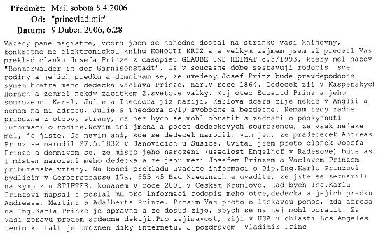Email z USA, který předcházel setkání v Praze