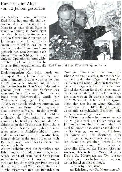 Nekrolog Karla Prinze na stránkách krajanského měsíčníku napsal Karl Suchy