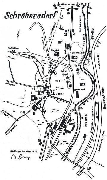 Jím samým zhotovený plánek Radešova (Schröbersdorf), kde má rodný dům čp. 8 a stojí před ním i tady třistaletá lípa