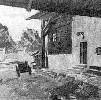 Vstup do obytné části rodného domu na obraze Rudolfa Nowaka z r. 1935