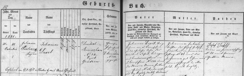 Záznam křestní matriky v tehdejším Německém Benešově o narození otcově s pozdějším přípisem o jeho svatbě v Horní Stropnici