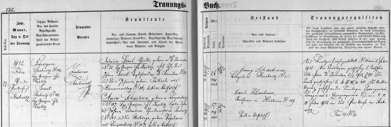 Záznam oddací matriky farní obce Horní Stropnice o svatbě jejích rodičů
