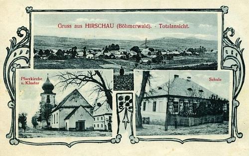 """Dvě staré pohlednice z Hyršova """"am Böhmerwald"""" - na obou je zachycen i kostel a klášter"""