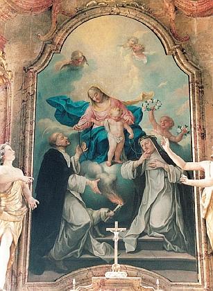 Oltářní obraz Růžencové Panny Marie v kostele sv. Máří Magdaleny ve Chvalšinách