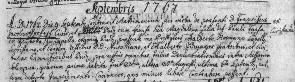 Záznam o jeho druhé svatbě v českobudějovické oddací matrice