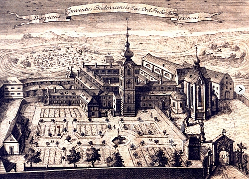 Dominikánský konvent v Českých Budějovicích na mědirytině z roku 1774