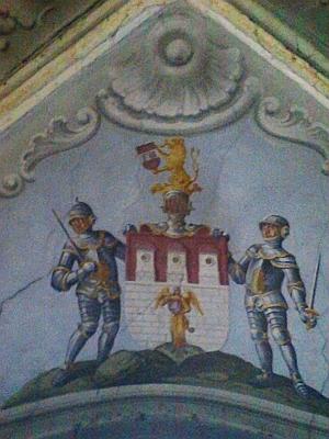 Českobudějovický znak na fresce z kostelíka Nejsvětější Trojice