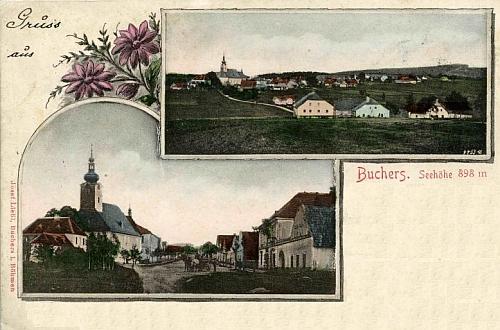 Kolorovaná pohlednice Pohoří na Šumavě, kterou vydal místní obchodník Josef Liebl