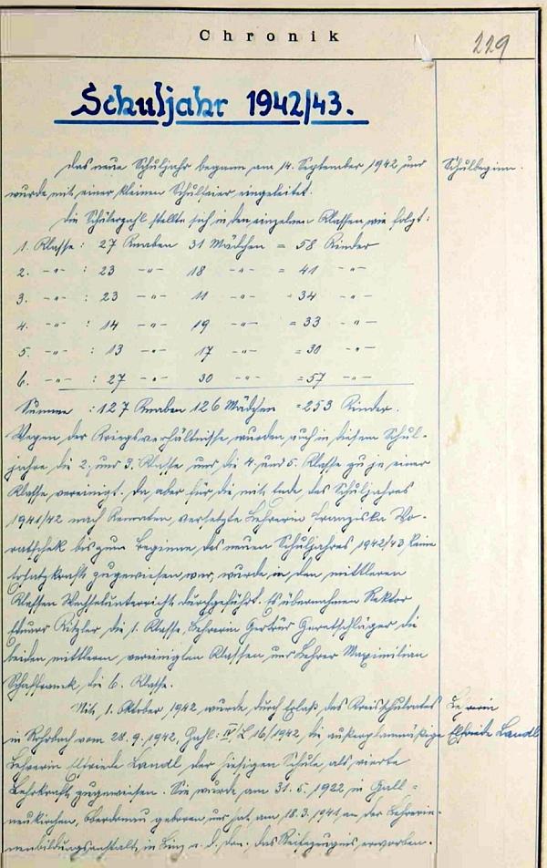 Stránka kroniky německé školy ze dnes zaniklého Rychnůvku se zprávou o zdejším nástupu Elfriede Landlové v roce 1942