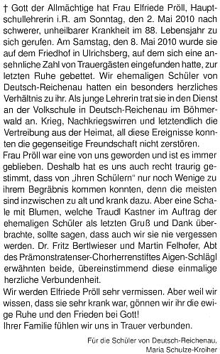 Marie Schulze-Kroiherová napsala o několik týdnů později inekrolog za žáky ze zaniklého Rychnůvku