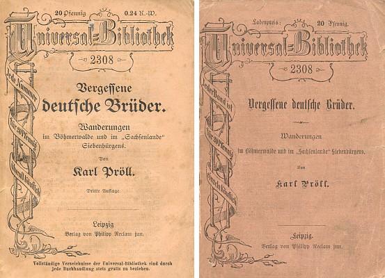 Obálka dvou vydání jeho práce ve slavné Reclamově edici (první vydání 1887)