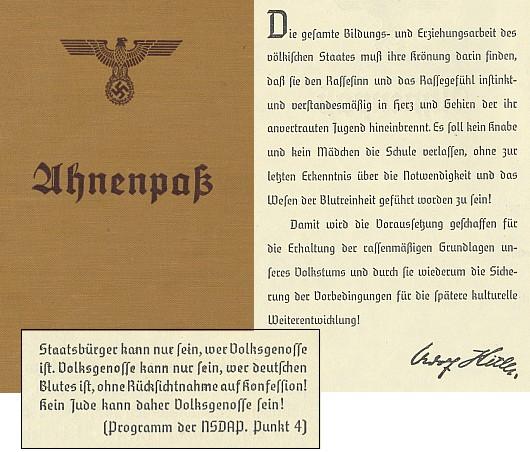 """Tak skončil rasový zápas: průkazem o předcích až do třicátého kolena a dál, k potvrzení čistoty """"německé krve"""""""