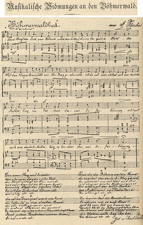 """Notový záznam jeho """"Písně o Šumavě"""" na stránkách """"Ilustrovaného Budějovického kalendáře a adresáře na rok 1895"""""""