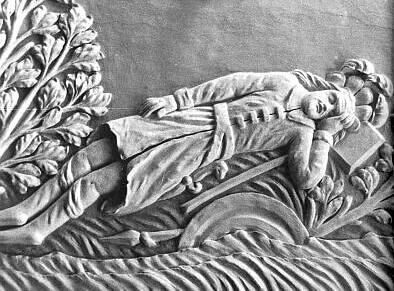 Znázornění zakládací legendy kláštera Schlägl (viz kladívko pod hlavou spícího)