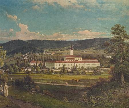 Malíř Carl Blumauer (1826-1903) vytvořil tento obraz, zachycující klášter Schlägl, v roce 1844, tedy pět let předtím, než Laurenz Pröll přišel na svět