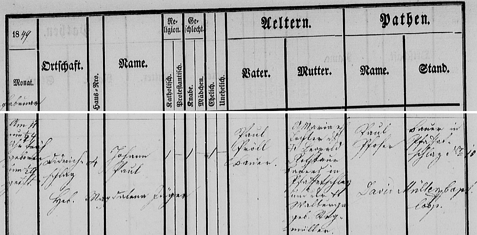Záznam o jeho narození v ulrichsbergské křestní matrice