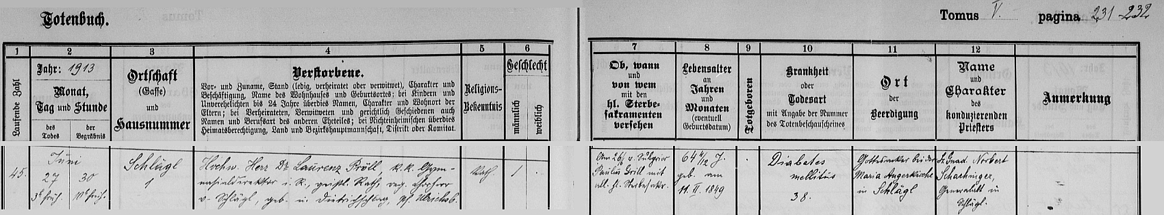 Záznam o jeho úmrtí v aigenské knize zemřelých