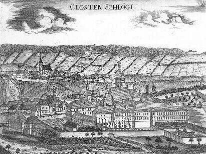Klášter Schlägl na rytině z doby kolem roku 1670, v pozadí vlevo Aigen, vpravo na šumavském obzoru samota Oberhaag