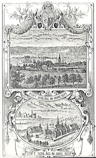 Stará zobrazení kláštera Schlägl na frontispis této knihy