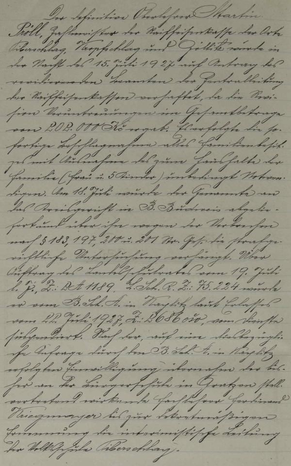 Zápis v kronice školy ve Veveří o jeho zatčení